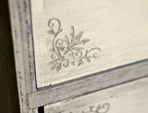 Shabby stamped cabinet drawers