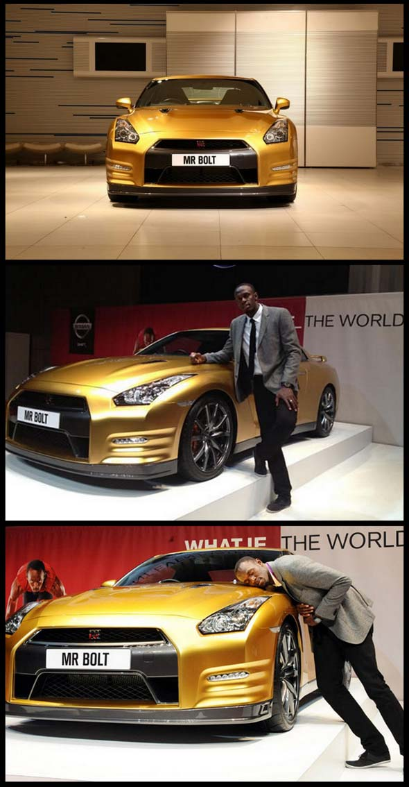 usain bolt with nissan GTR 2013 Gold Special edition