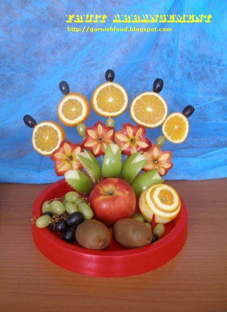 Garnish food art — how to make fruit bouquet