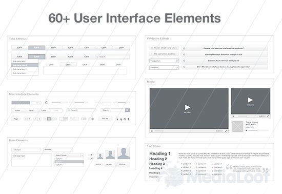 The Ultimate Wireframe UI Kit 20 useful UI elements PSDs