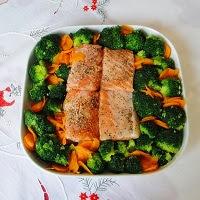 łosoś z warzywami- danie jednogrankowe