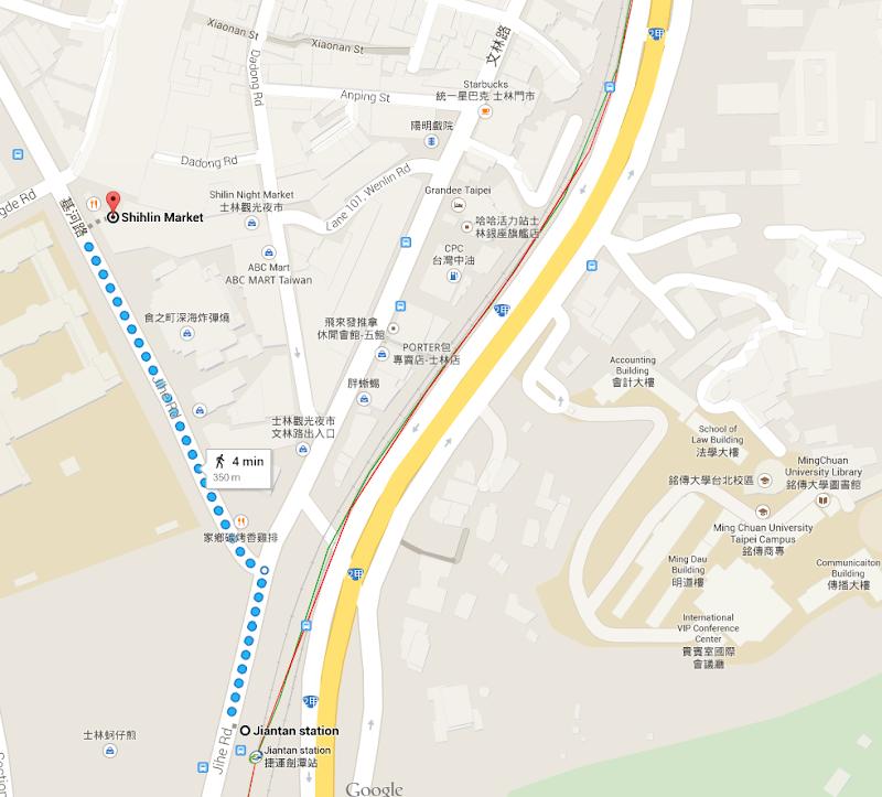 Shilin Night Market access map