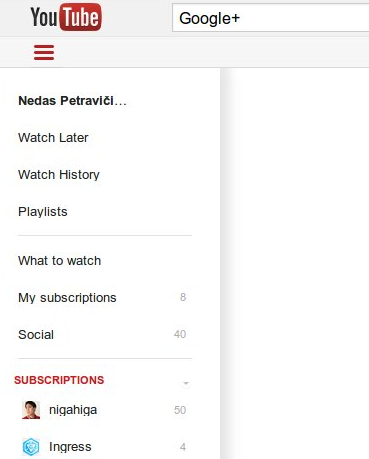 YouTube Design Sidebar