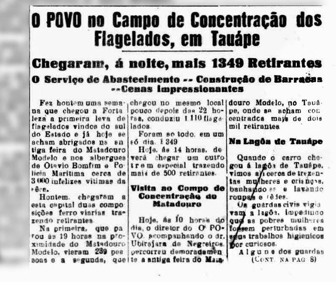 Notícia sobre o Campo de Concentração dos Flagelados, publicada no Jornal O POVO, em 16/04/1932