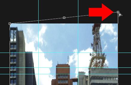 Com a transformação Distorcer, corrigimos a perspectiva horizontal