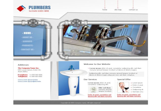 Free CSS HTML Plumbing Company Template