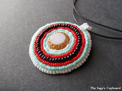 Snow White Embroidered Pendant