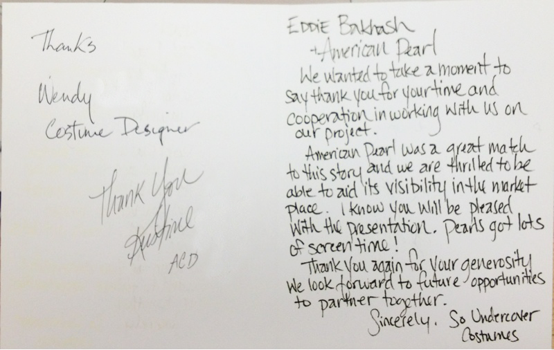 Thank you card from Miley's Team