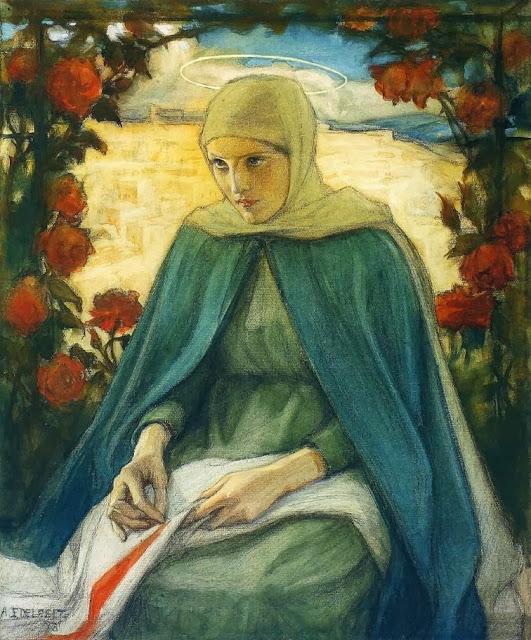 Albert Edelfelt - The Virgin Mary in the Rose Garden