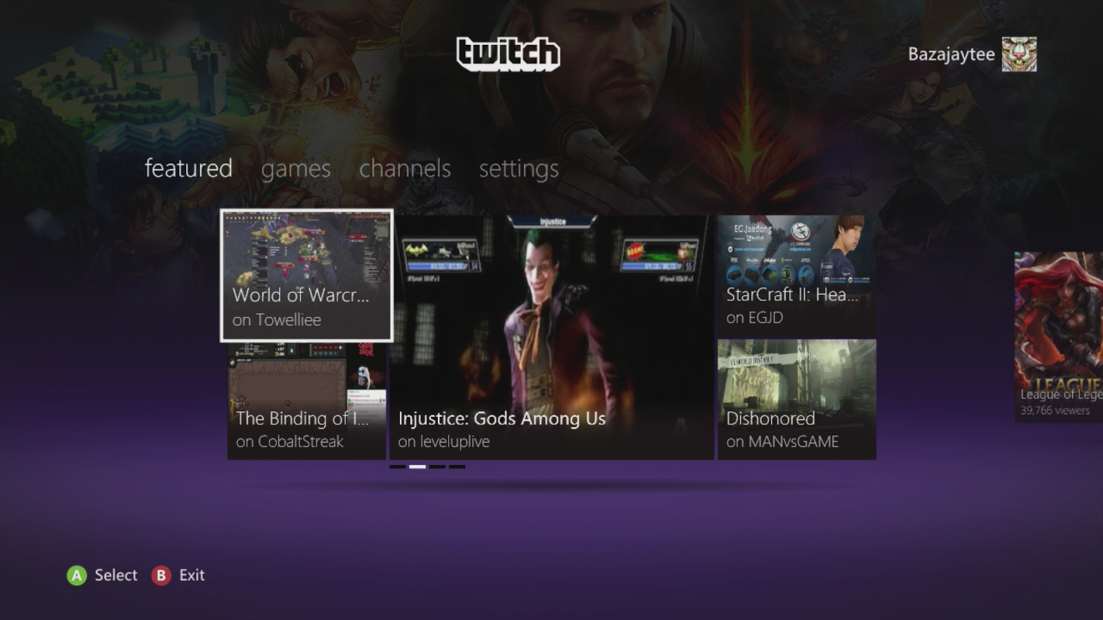 Screenshot of Twitch website