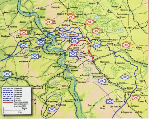 Схема битвы при Вердене