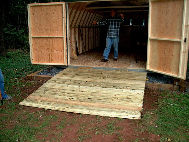 Setting pre-built Shed and Building Access Ramp ...
