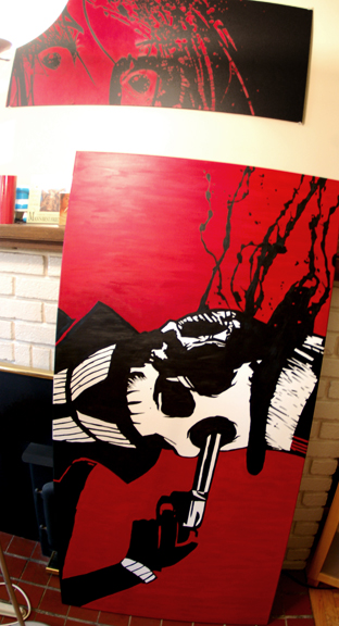 horror painting, blood painting, halloween painting, skull canvas, tattoo painting