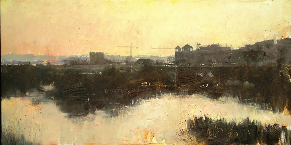 Manuel Castillero Ramírez Pintura en oleo Amanecer en el rio