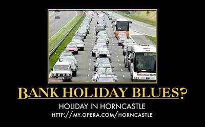 traffic jam with 'holiday in horncastle' motivational