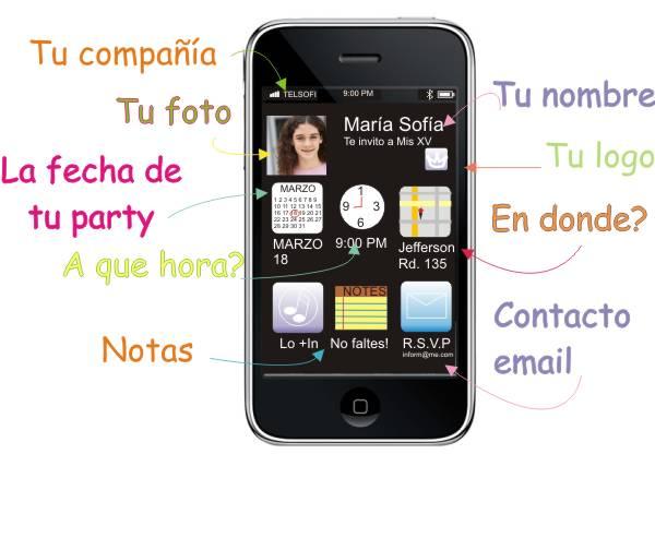 Invitación en Iphone para XV años
