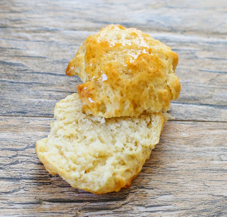 a close-up shot of one 2-ingredient biscuit sliced in half