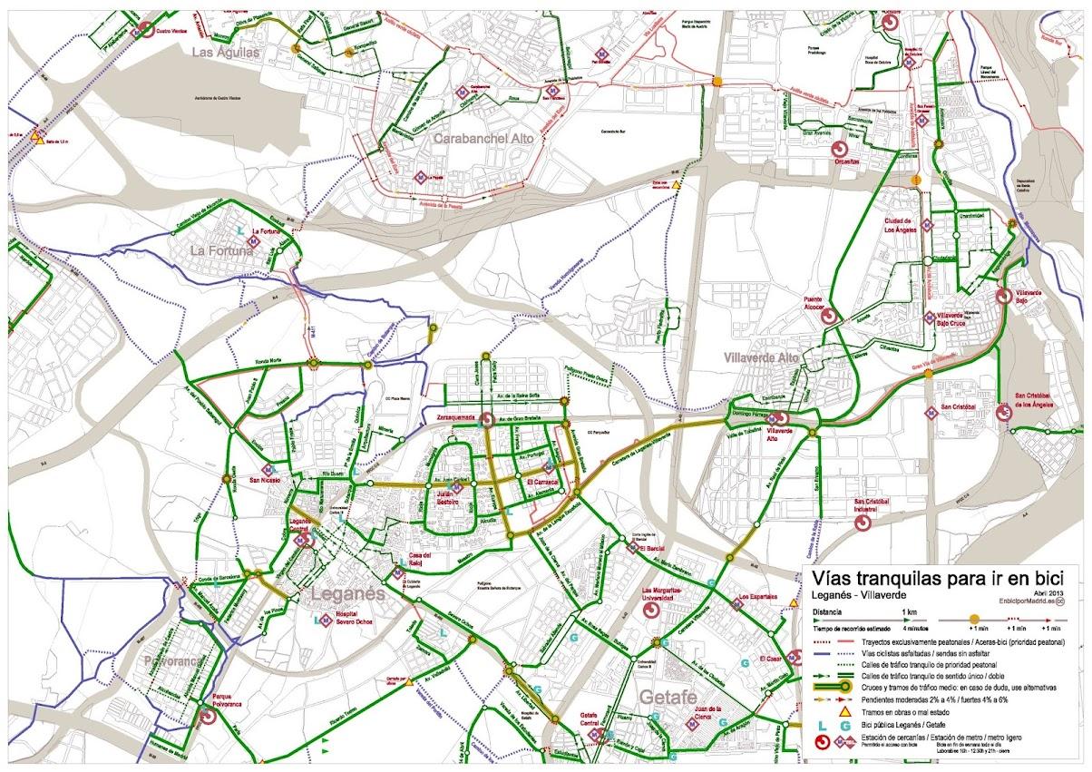 Plano de vas tranquilas de Legans y Villaverde  en bici por madrid