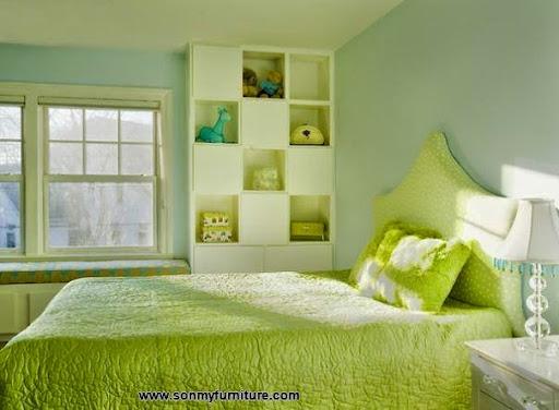 Thiết kế nội thất phòng ngủ với gam màu xanh tươi mát_CONG TY NOI THAT-5