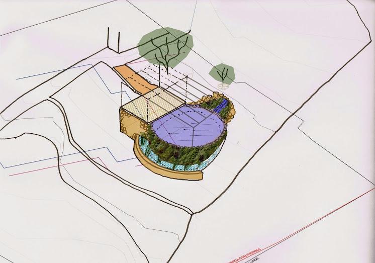 Evolución del dieño de una piscina natural con jardín vertical
