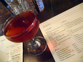 Roe restaurant PDX Confounded Swede with Krogstad Aquavit, Cocchi Torino, Campari, and Beet Salt