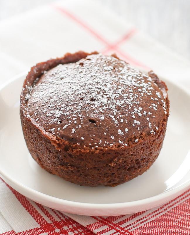 photo of the chocolate mug cake on a plate