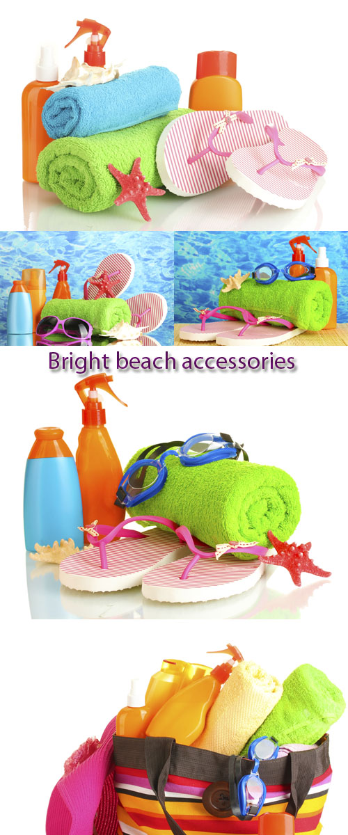 Stock Photo:Bright beach accessories, isolated on white