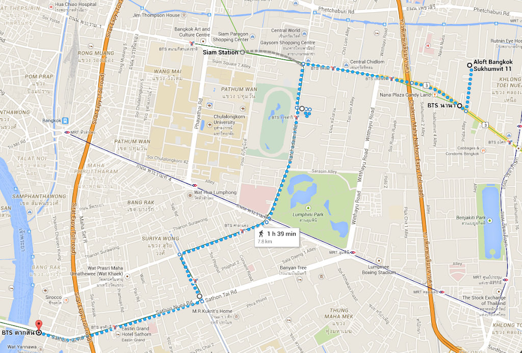 Sukhumvit to main temple area in Bangkok map