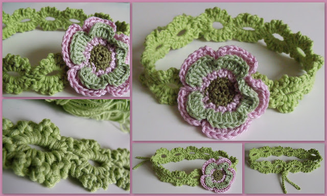 crochet patterns, headbands, headwear, daisy, flowers, baby, child, adult,