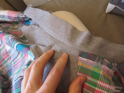 patchwork madras and pink linen shirt