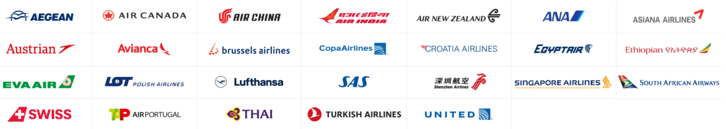Image of logos of all airlines part of Star Alliance including Air Canada, United, Singapore Airlines, and Lufthansa.