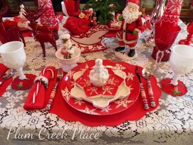 Christmas red and white tablescape