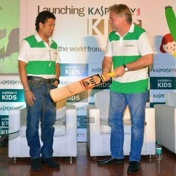 Sachin Tendulkar and Eugene Kaspersky, Chairman & CEO, Kaspersky Lab, during Kaspersky Kids awareness programme, held at Ryan International School, on July 23, 2014. (Pic: Viral Bhayani)