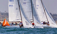 J/70s sailing upwind after start at Cal Race Week