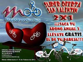 'Majadahonda en bici' ofrece dos abonos por uno en San Valentín