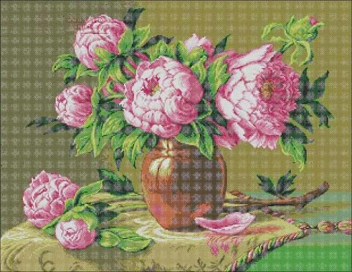 Bujori rozcross stitch pattern