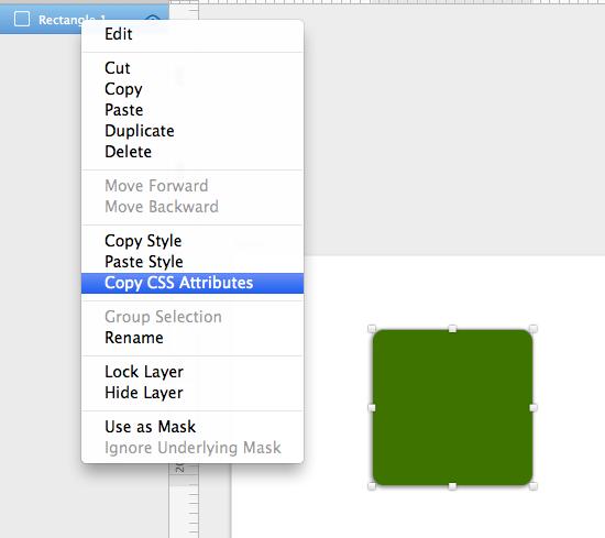 レイヤー上で右クリックからCopy CSS AttributesでCSSをコピー