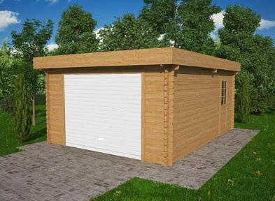 Garage en madriers bois avec fenêtres et porte coulissante