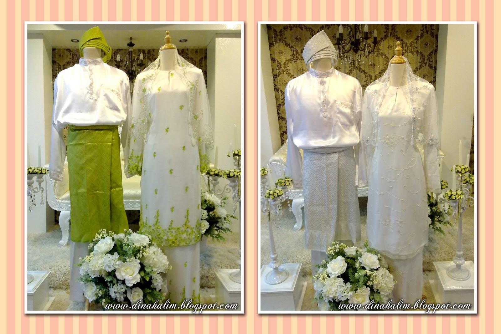 Baju Nikah Sifon Putih manik Hijau Muda & Baju Nikah Putih