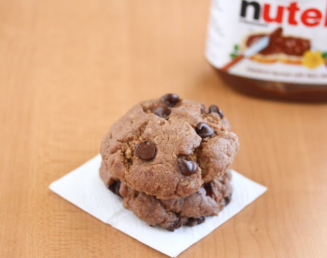 photo of a stack of two nutella cookies