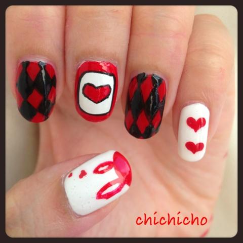 紅黑白指甲