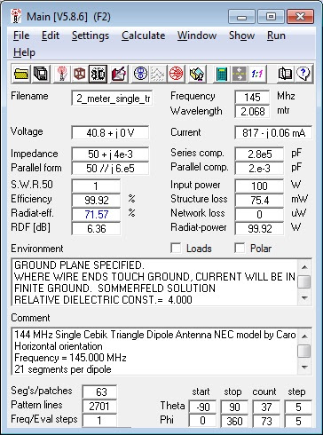 144                     MHz single Cebik Triangle Antenna 4nec2                     Calculations.
