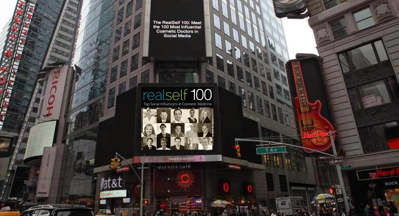 Dr. Mulholland is on the RealSelf 100 list. This billboard was displayed in Time Square, New York City.