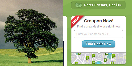 Side by side comparison of a lone tree on a field and a white groupon deal card over a green background