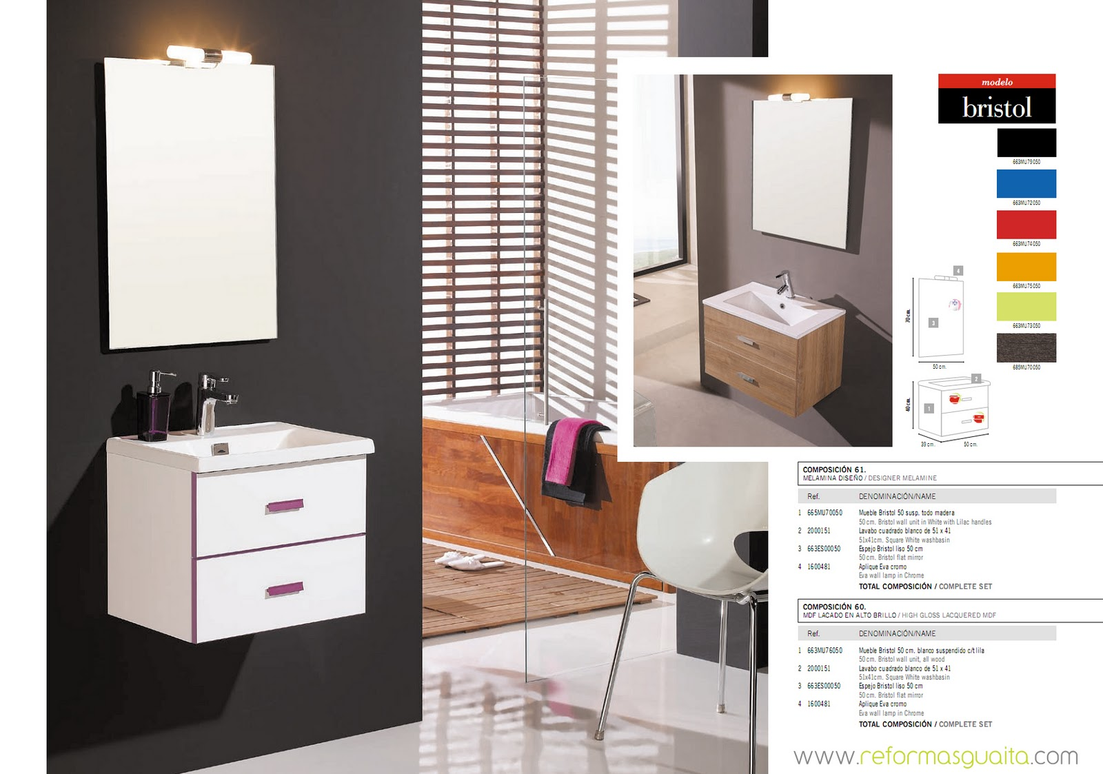 Bristol muebles de fondo reducido a 40 cms reformas guaita for Muebles de bano suspendidos baratos
