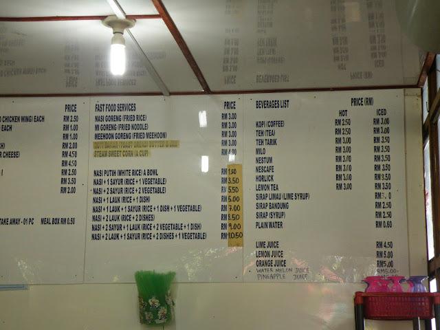 Pulau Manukan food price list
