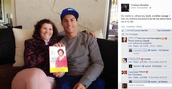 """Ronaldo đăng """"status"""" ca ngợi mẹ không tiếc lời"""