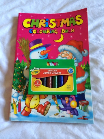 Christmas colouring book and chunky crayons