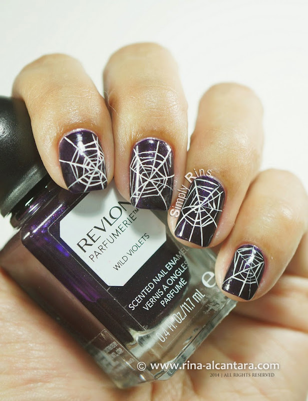 Cobwebs Nail Art on Revlon Wild Violets