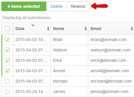resend multiple submissions from web form
